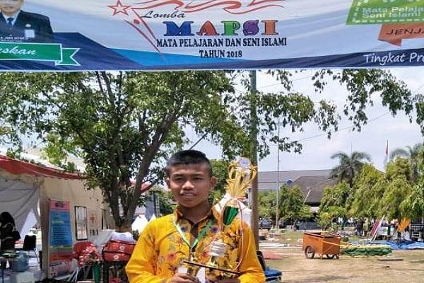 Aldi Firman Syahputra, siswa SMP Negeri 1 Ngawen merebut juara II lomba pidato dalam Lomba Mapsi Jateng 2018.