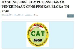 BKD UMUMKAN HASIL TES SKD CPNS BLORA 2018