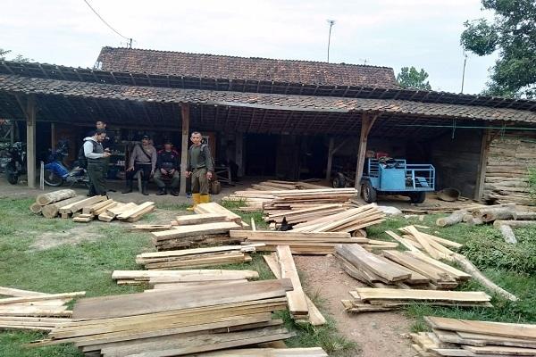 Aparat gabungan kepolisian dan perhutani mengamankan kayu jati ilegal