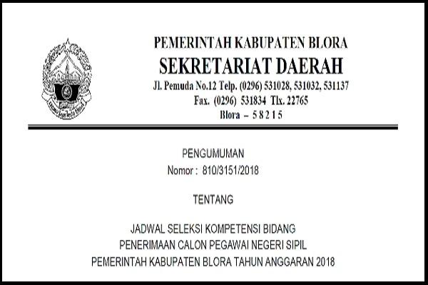 Pengumunan Jadwal SKB CPNS Blora 2018