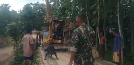 Alat berat telah diterjunkan di lokasi TMMD Reguler ke-104 di Desa Jurangjero Kecamatan Bogorejo Kabupaten Blora
