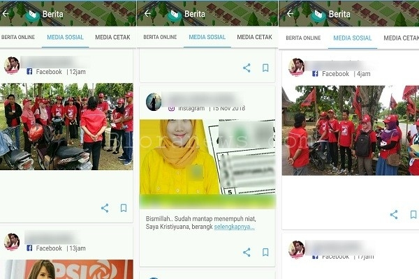 Konten Aplikasi Blora Kuncara yang berisi kampanye peserta pemilu 2019