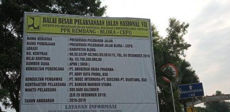 Papan proyek Preservasi Pelebaran Jalan Blora-Cepu