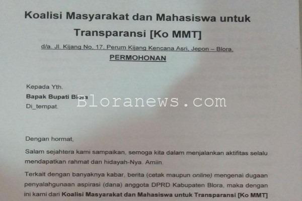 Surat dari Ko MMT yang ditujukan kepada Bupati Blora