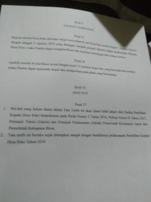 Aturan tambahan dalam Tata Tertib Pilkades Soko Kecamatan Jepon Kabupaten Blora 2019