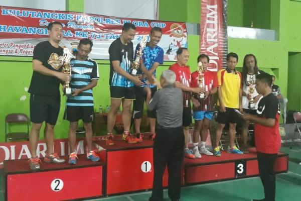 Ganda putra PB Macan meraih juara pertama Kejurkab Bulutangkis Mustika Cup 2019 untuk kategori ganda putra