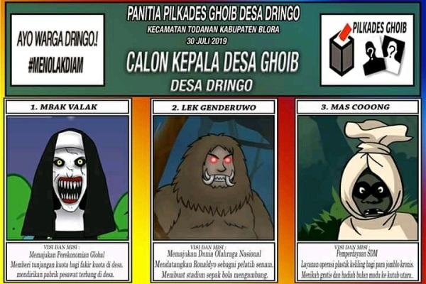 Meme Pilkades Gaib Desa Dringo buatan pemuda desa setempat