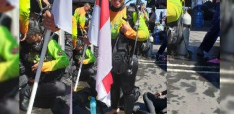 Bripda Titis Widyaningtyas dalam pemecahan rekor dunia, Guinness World Record di Pantai Kawasan Megamas, Manado, Sulawesi Utara_