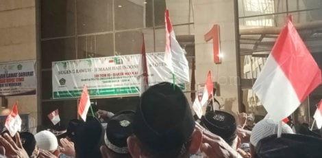 Upacara peringatan HUT Proklamasi Kemerdekaan RI ke- 74 di halaman hotel Al Keswah Tower, kompleks Maktab 39, Mekkah Arab Saudi