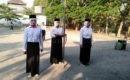 Ibu-ibu di Desa Mojorembun Kecamatan Kradenan Kabupaten Blora menjadi petugas upacara bendera HUT Proklamasi Kemerdekaan RI ke- 74