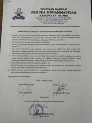 Klarifikasi Kokam PD Pemuda Muhammadiyah Blora terkait postingan viral bendera tauhid di lokasi upacara HUT RI ke- 74, Alun-alun Blora