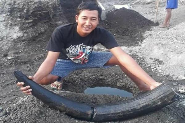 Warga Desa Ketuwan Kecamatan Kedungtuban Kabupaten Blora, Dwi Purwanto (30) bersama benda yang diduga fosil gading gajah purba