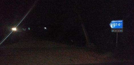 Lampu penerangan jalan menuju sumur pengeboran PT SGT padam