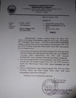 Surat Bupati Blora tentang Syarat Anggota PPK, PPS, dan KPPS tertanggal 13 Januari 2020