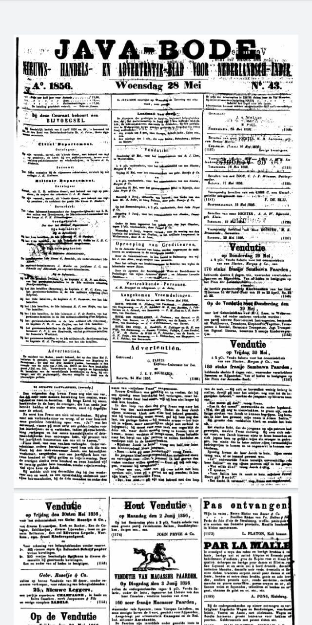 """koran """"Java-Bode"""" dan """"De Oostpost"""", dengan tanggal 28 Mei 1856,"""