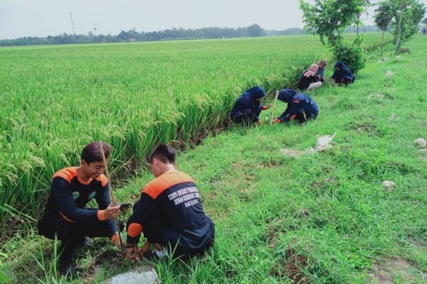 Anggota Corps Brigade Pembangunan (CBP) IPNU ikut serta dalam aksi Sumber Menanam di Desa Sumber Kecamatan Kradenan Kabupaten Blora
