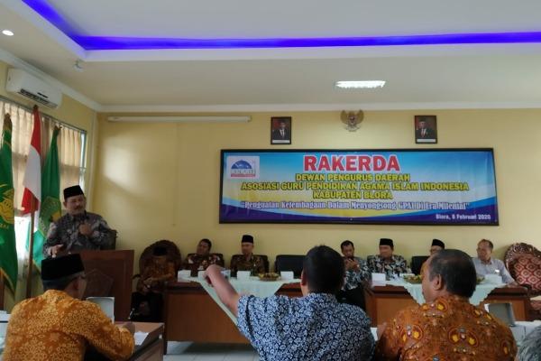 Rapat Kerja Daearah (Rakerda) Asosiasi Guru Pendidikan Agama Islam Indonesia (AGPAII) Kabupaten Blora di aula Kementerian Agama setempat