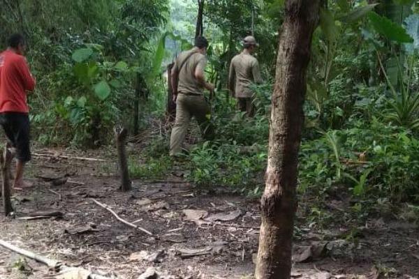 Lokasi longsor di Desa Ngloram RT 02 RW 02 Kecamatan Cepu Kabupaten Blora didatangi petugas