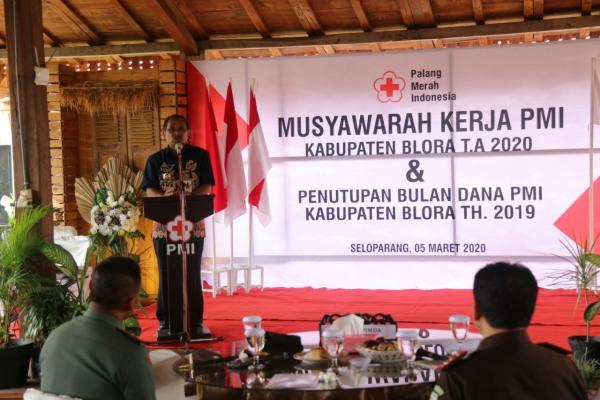 Bupati Djoko Nugroho dalam Musyawarah Kerja PMI Kabupaten Blora 2020
