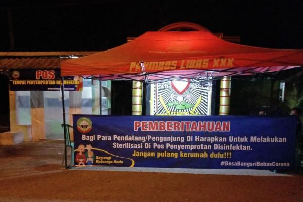 Pos sterilisasi pemudik di Desa Bangsri Kecamatan Jepon Kabupaten Blora
