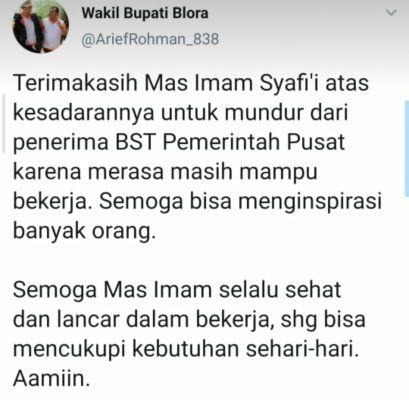 Tangkapan layar twit wakil Bupati Blora, Arief Rohman