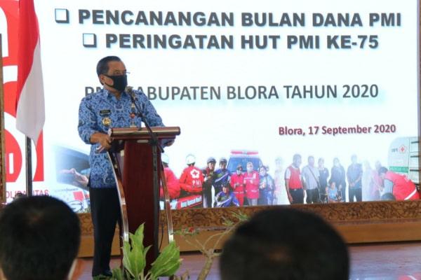 Peringatan HUT ke 75 Palang Merah Indonesia dipendopo Rumah dinas Bupati Blora